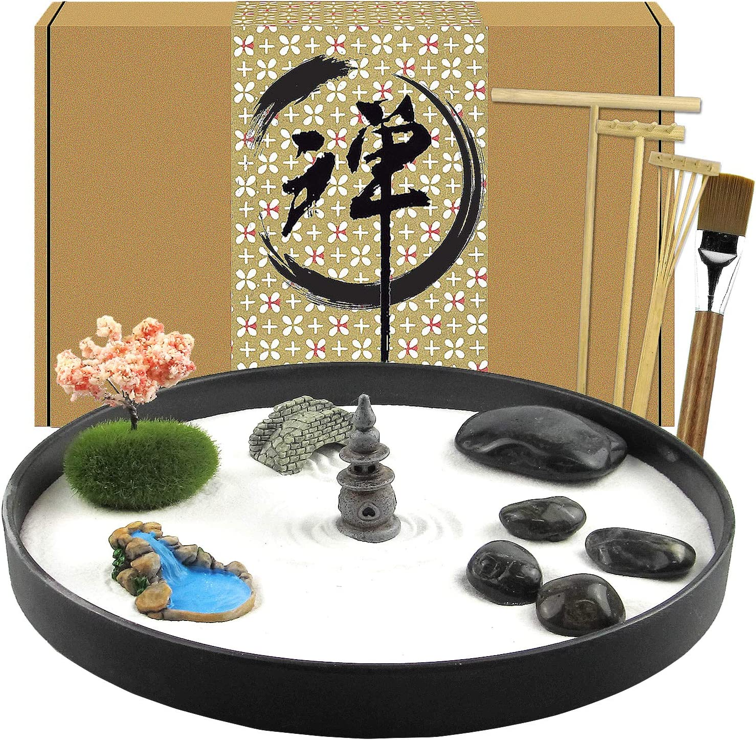 Artcome Japanese Zen Sand Garden for Desk with Rake, Stand, Rocks and Mini Furnishing Articles - Office Table Accessories, Mini Zen Sand Garden Kit - Meditation Gifts