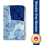 Divine Casa Basic Floral Microfibre Single Blanket - Blue Glow and Dark Blue