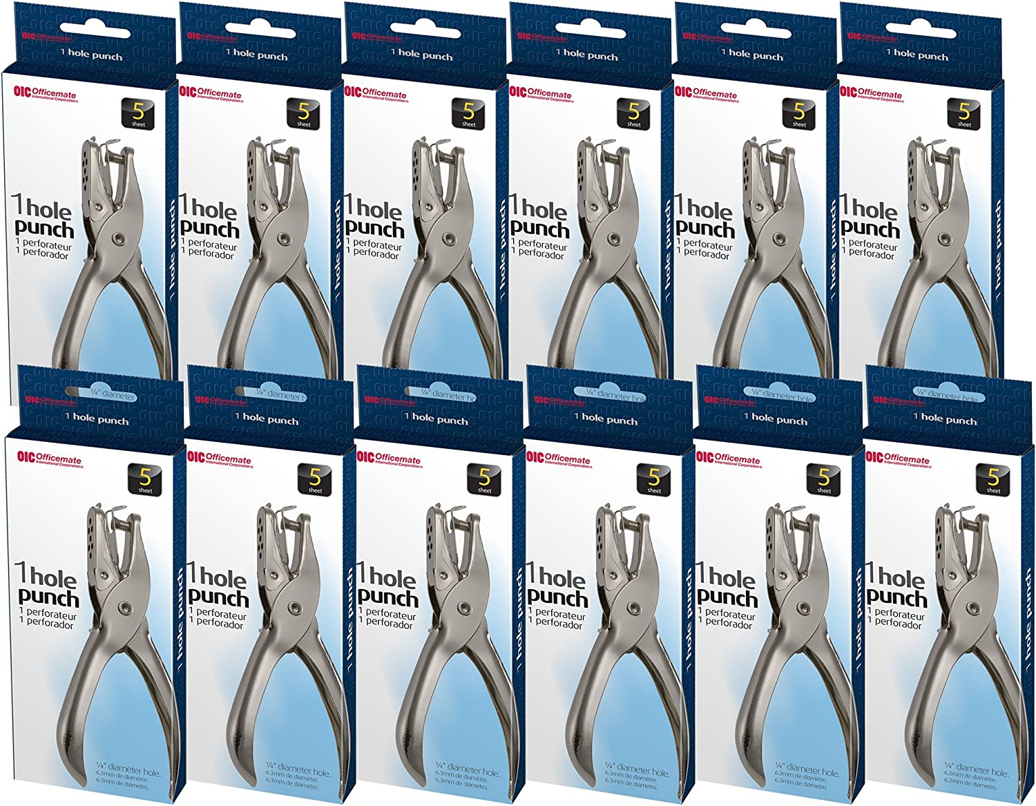 Officemate 1 Hole Punch, 5 Sheet Capacity, Comes in 12 Pack, Silver (90075)