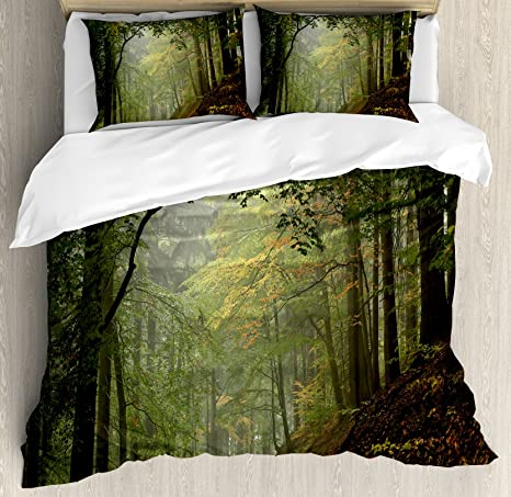 Ambesonne Forest Duvet Cover Set Misty Autumn Forest With Shaded Trees Foggy Dreamy Woodland Scene Decorative 3 Piece Bedding Set With 2 Pillow Shams Queen Size Green Brown Home Kitchen