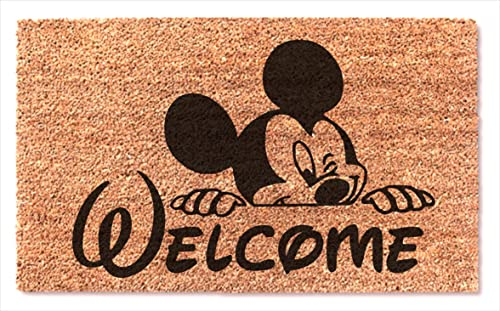 Welcome Cute Mickey Mouse Peek Funny Non Slip Doormat Entryway Outdoor Floor Mat Easy Clean Home Decor Housewarming Wedding New House Birthday Gift Door Rug Brown Mat