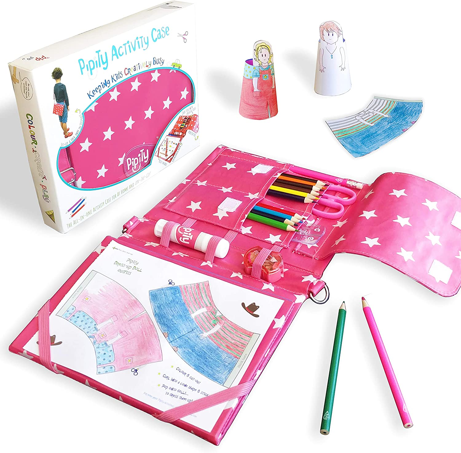 Pipity Art Set for Girls | Pink Arts and Crafts Set with Stationary and Activity Book Included | Papercraft, Art, Travel Games, Puzzles | Great Gift for a Girl Age 6,7,8,9,10 Years Old | Carry Case