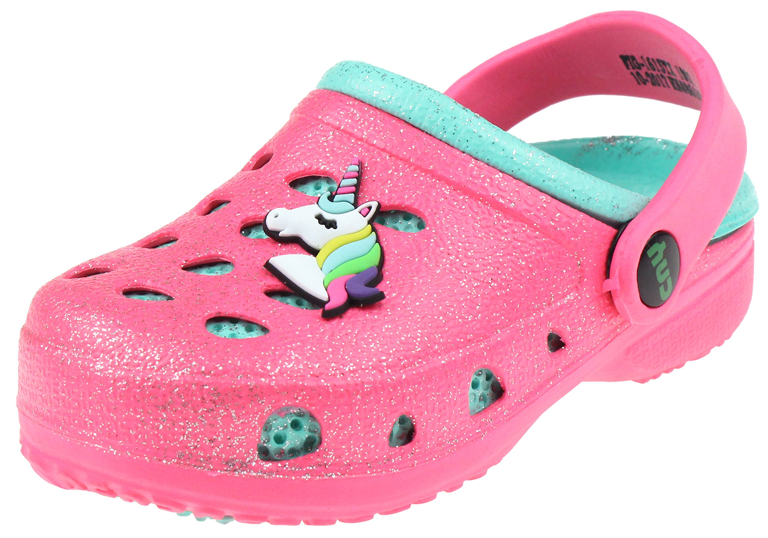 Capelli New York Toddler Girls Allover Glitter Clog with Unicorn Jelly Patch Pink 6/7
