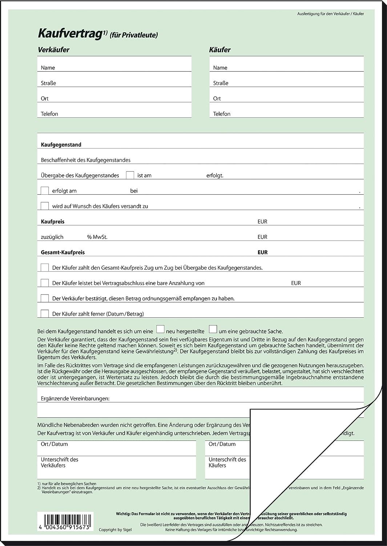 Sigel KV420 Kaufvertrag (allgemein) DIN A4, 25 Stück: Amazon.de ...