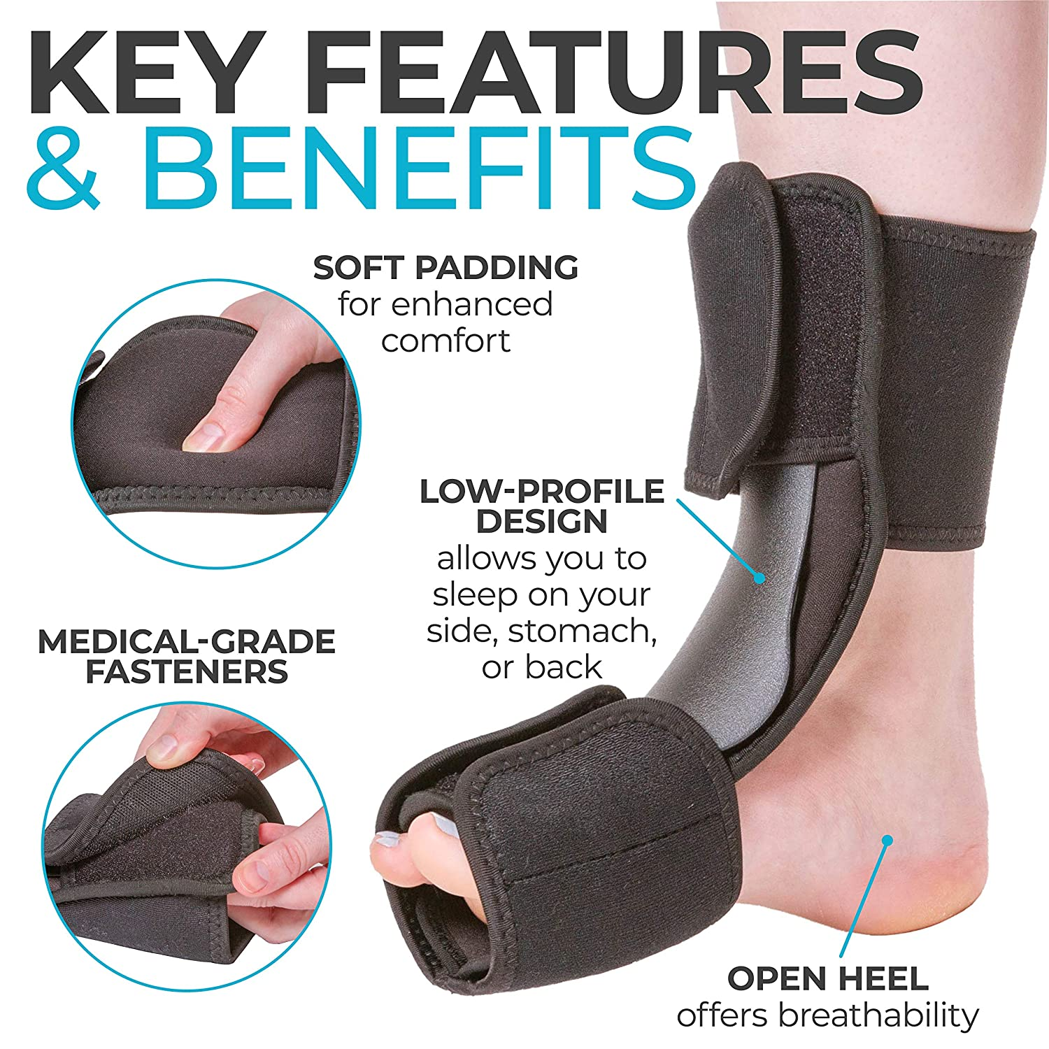 8ff90f088766 ... Fasciitis Pain Relief, Foot Drop Brace for Sleeping, and Achilles  Tendon Stretcher Boot for Nighttime Ankle Dorsiflexion (S/M): Health &  Personal Care
