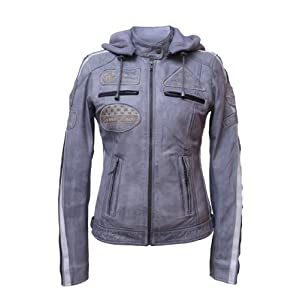 Urban Leather UR de 164 Femme Veste de moto avec protections, gris, grand : 2 x L
