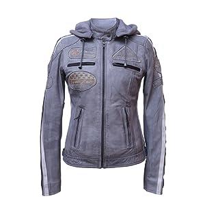 Urban Leather UR de 164 Femme Veste de moto avec protections, gris, grand : 2 x L