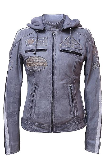 Urban Leather 58 Leren Bikerjack, Chaqueta de Moto para Mujer, Gris, 50 / 4XL