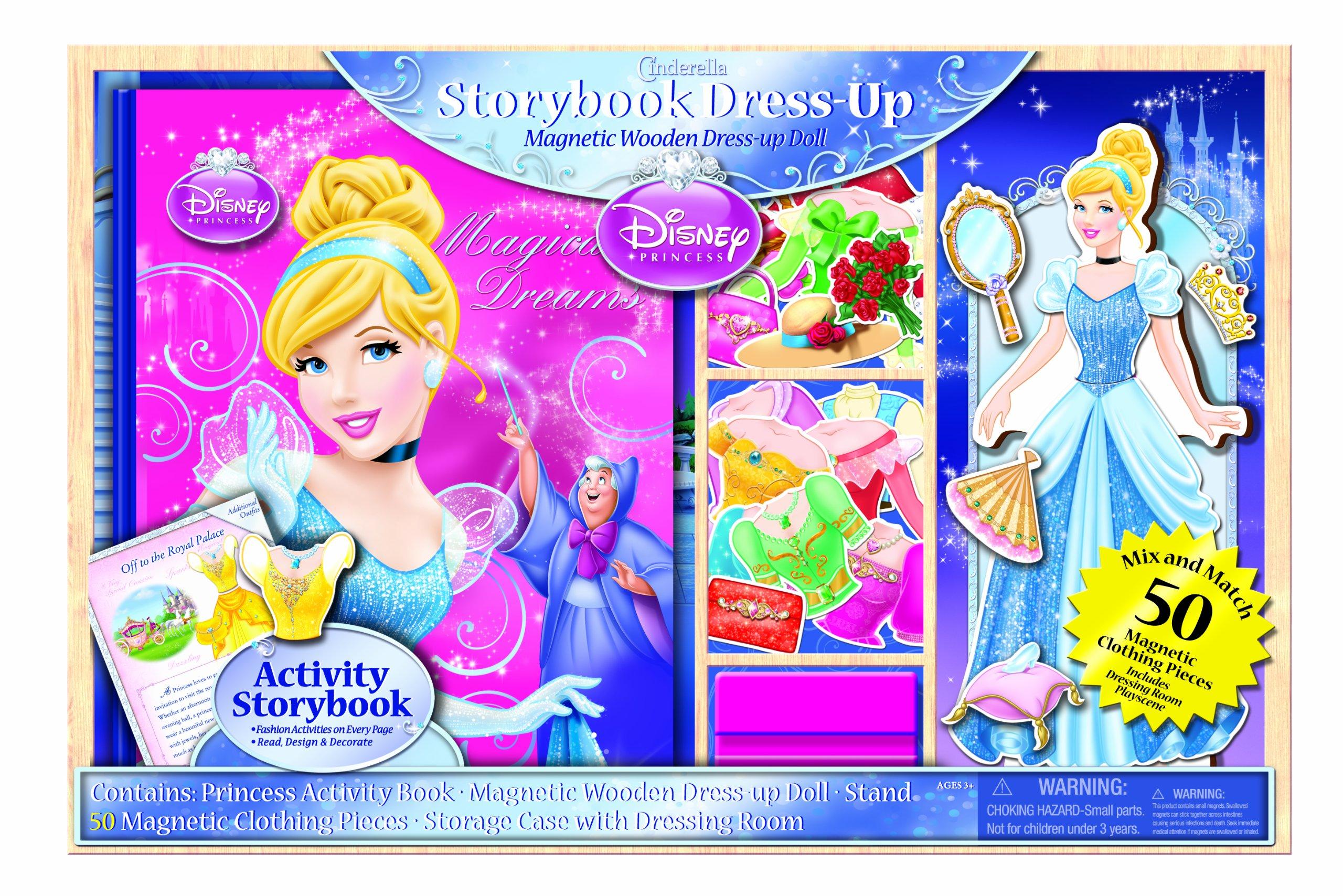 Bendon Disney Princess Storybook Dress Up Magnetic Wooden Doll Set, 50-Piece