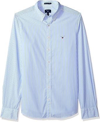 Gant 3046502-468 The Broadcloth Banker Slim Camisa de Hombre Button Down Rayado Celeste Capri Blue Slim Fit 100% algodón: Amazon.es: Ropa y accesorios
