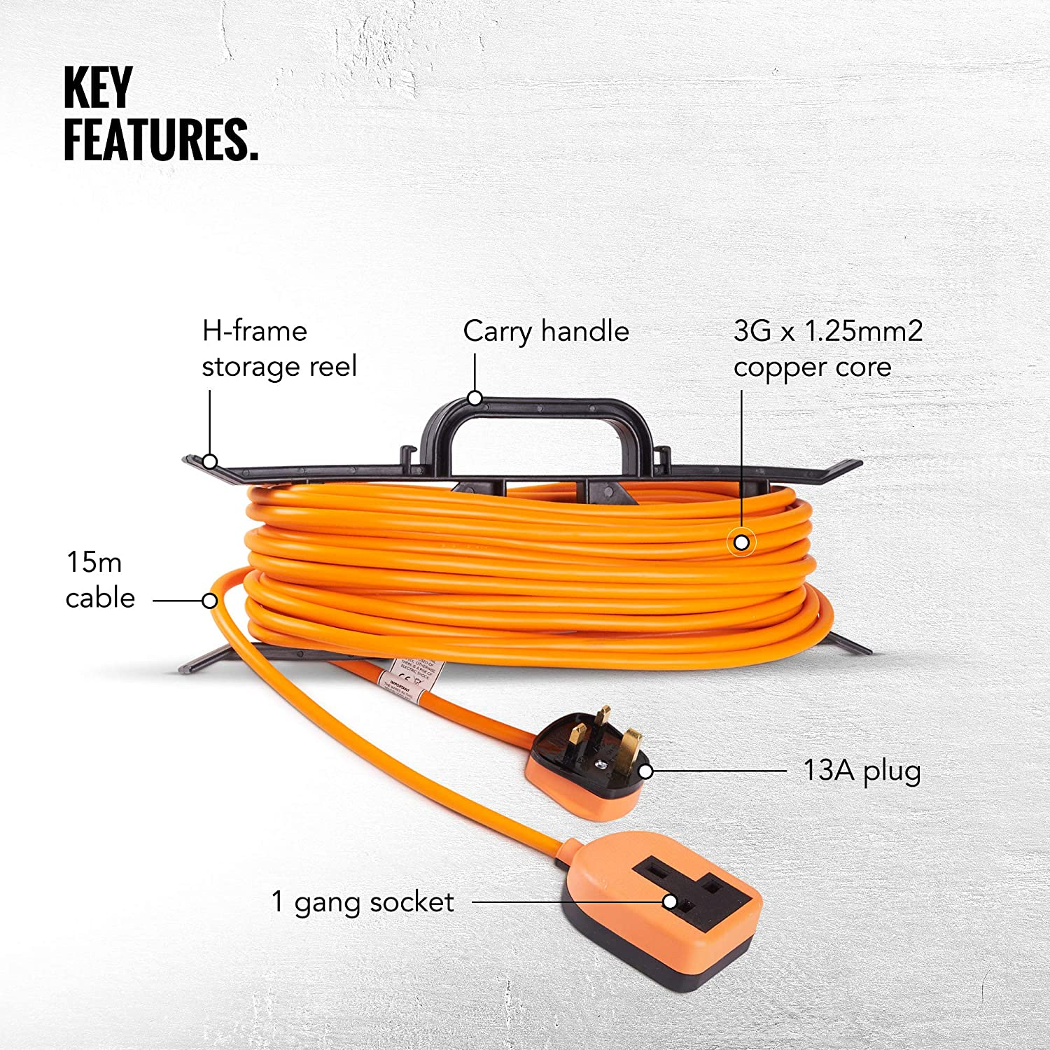Mains Cable Tidy Extension Lead  Roll Carry Handle Hook Up Wire  Storage H Frame