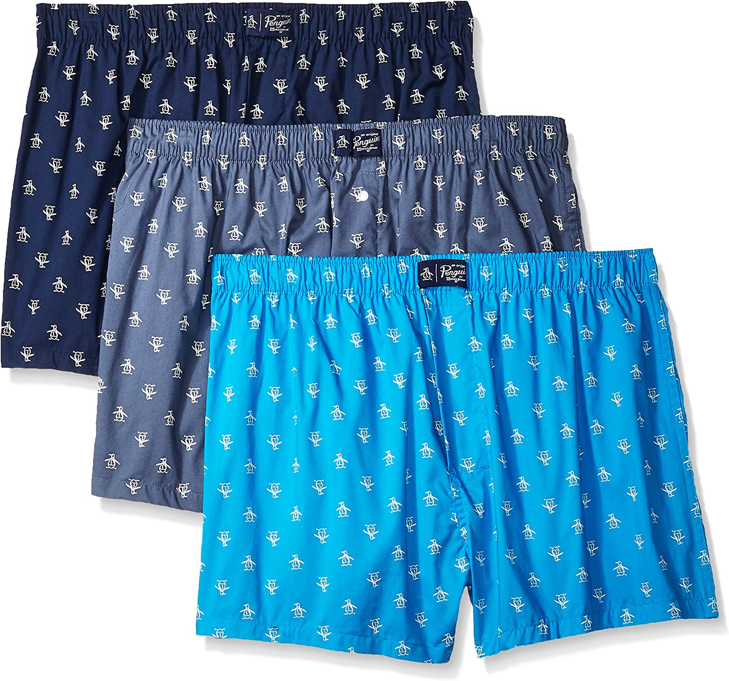 Original Penguin Men's 3 Pack Woven Cotton Boxer