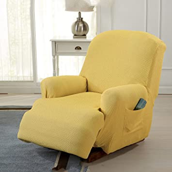 One Piece Stretch Recliner Chair Furniture Slipcovers With Remote Pocket  Fit Most Recliner Chairs Beige