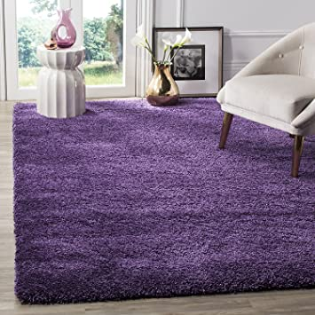 BRAVICH RugMasters Purple Lila Small Rug 5cm Thick Shag Pile Soft Shaggy  Area Rugs Modern Carpet