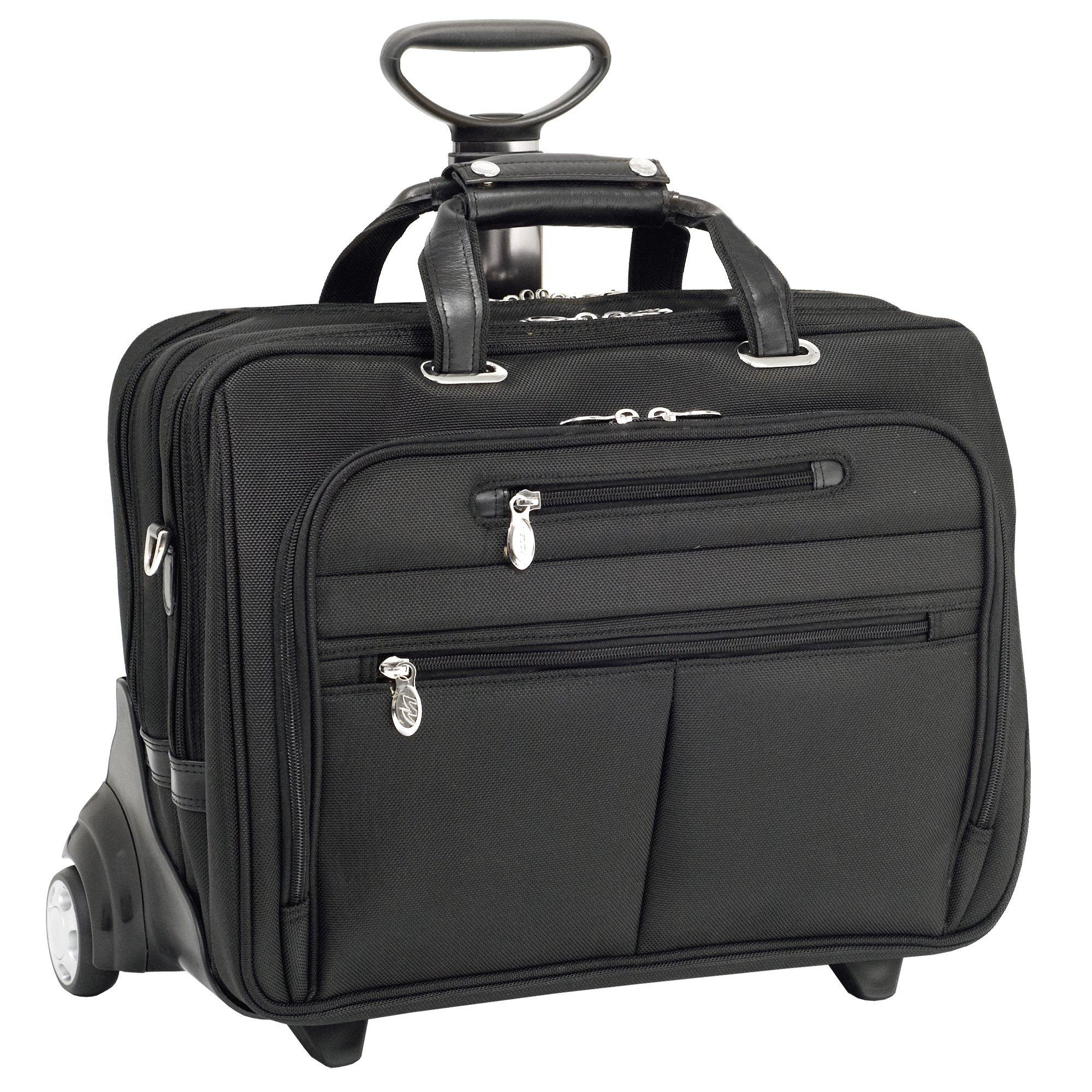 Mcklein USA 76535 Ohare, 15.6'' Nylon Checkpoint friendly Wheeled Laptop Briefcase, 18''x9.25''x14.5'', Black by McKleinUSA