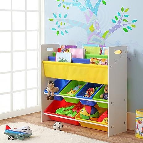 Superior Finnhomy Kidsu0027 Combo Book U0026 Toy Storage Organizer Sling Book Rack With 6  Plastic Bins