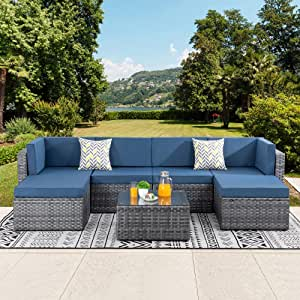 Walsunny 7pcs Patio Outdoor Furniture Sets,Low Back All-Weather Silver Gray Rattan Sectional Sofa with Tea Table&Washable Couch Cushions&Ottoman,Aegean Blue
