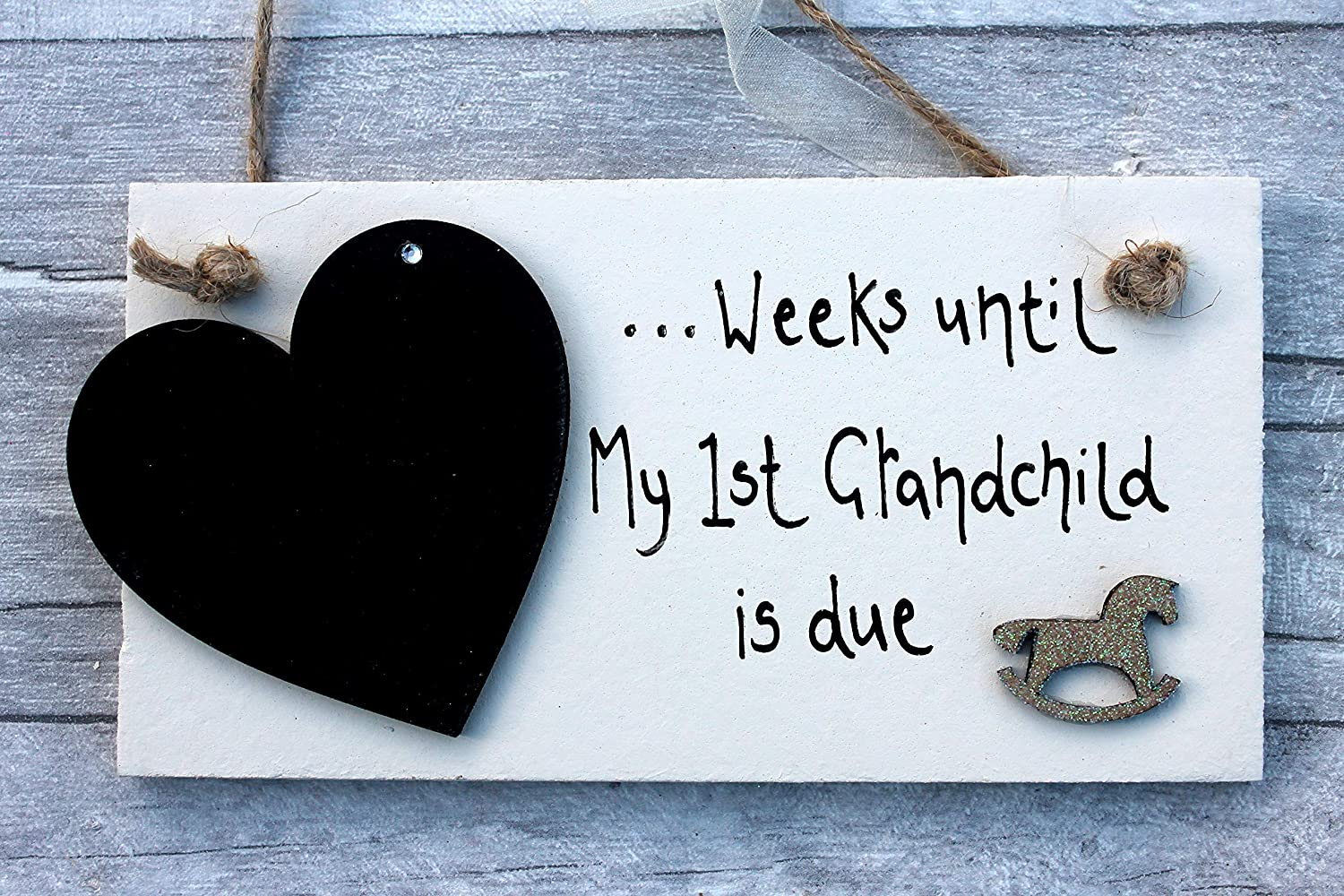 Weeks Until I am a Grandma Blackboard Wood Sign Plaque NEW Baby GIFT