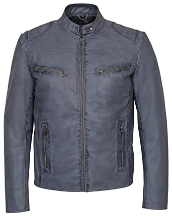 Smart Range Mens Speed Washed Grey Stone Biker Style Motorcycle Real Leather Jacket