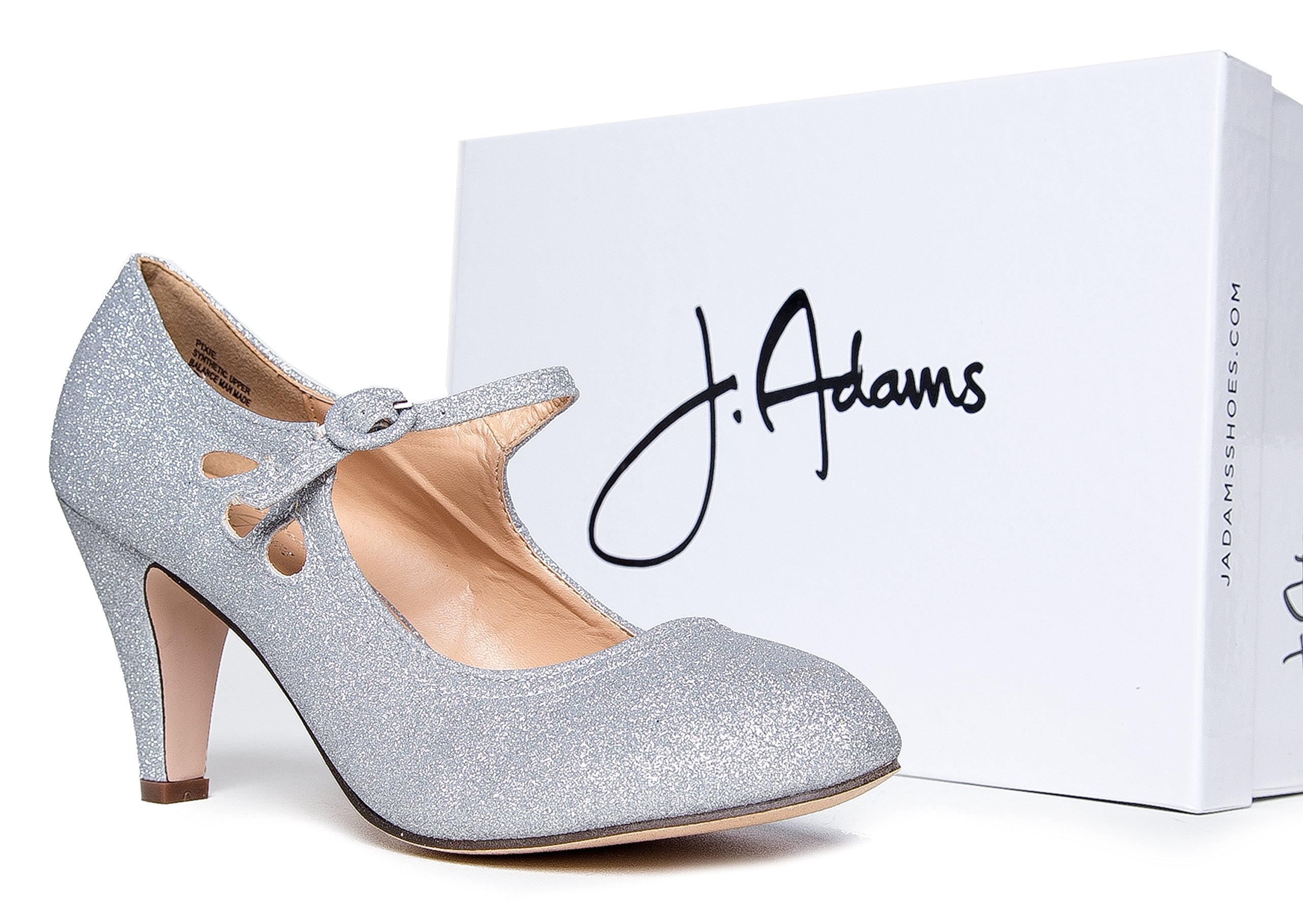 Pixie Mary Jane Heel, Silver Glitter, 8 B(M) US by ZooShoo (Image #5)