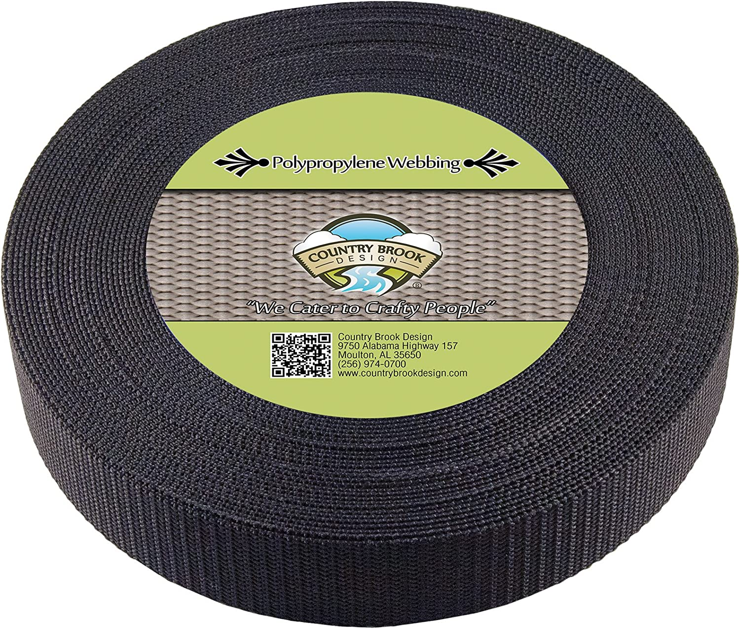 25 Yards 1 1//2 Inch Black Heavy Polypro Webbing Country Brook Design