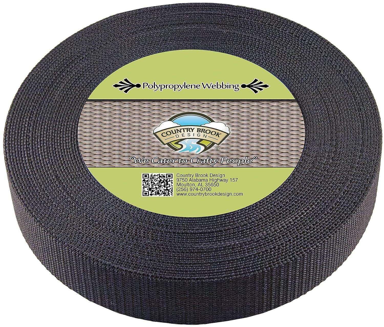 Country Brook Design | 1 1/2 Inch Black Heavy Polypro Webbing, 25 Yards WPH-BLA-1.1.2-25