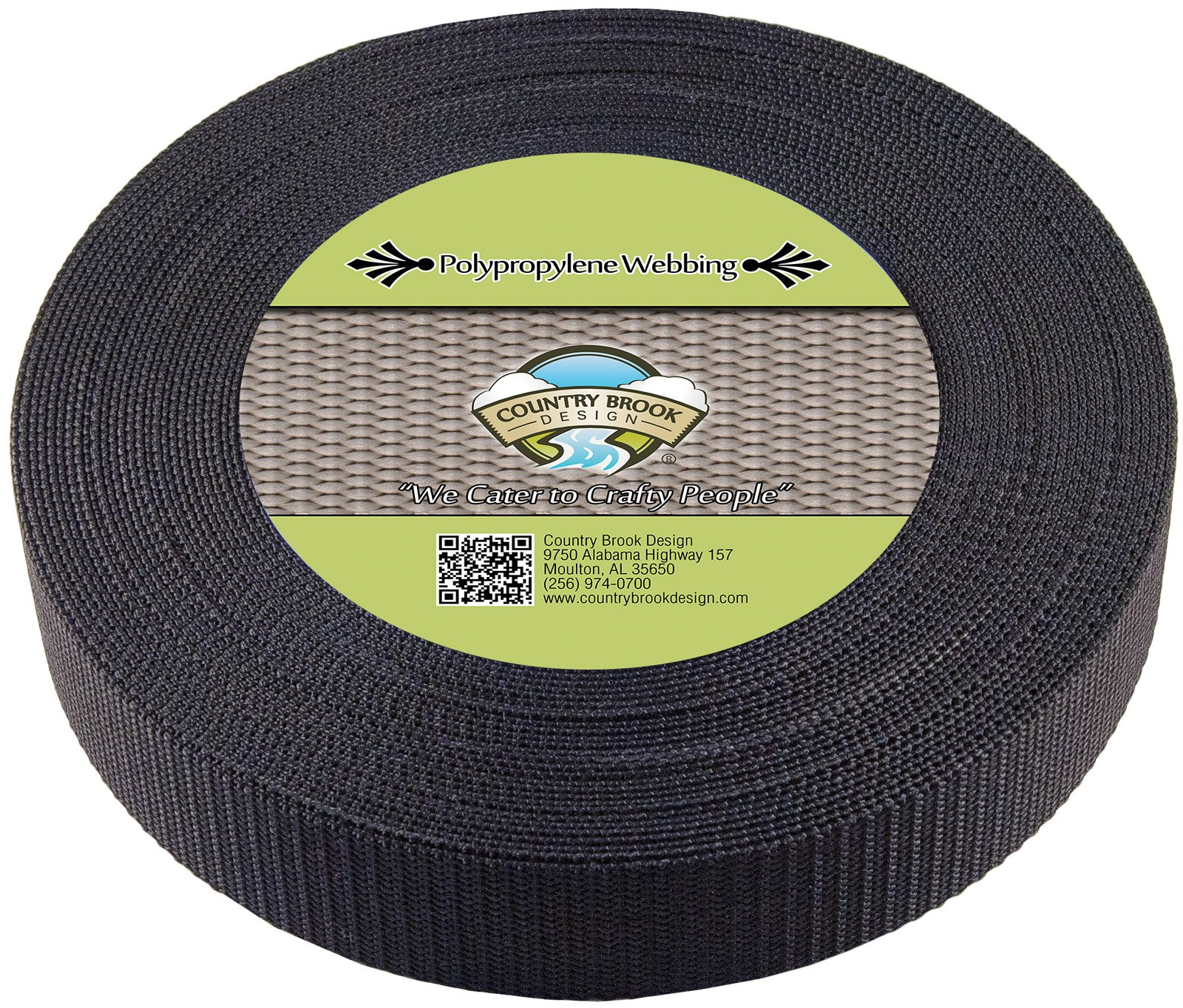 Country Brook Design 1 1/2 Inch Heavy Black Polypro Webbing, 700 Yards