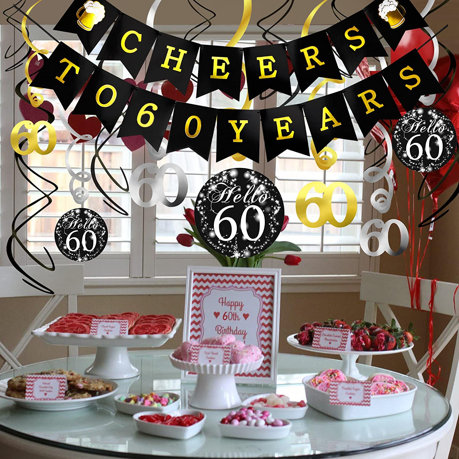 60th Birthday Decorations Kit- Konsait Cheers to 60 Years Banner Swallowtail Bunting Garland Sparkling Celebration 60 Hanging Swirls,Perfect 60 Years ...