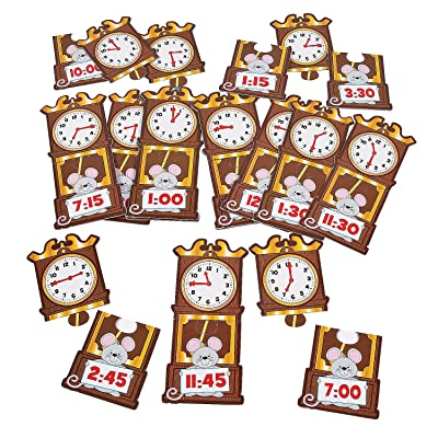 Fun Express Time Matching Puzzle - 56 Pieces - Educational and Learning Activities for Kids: Toys & Games
