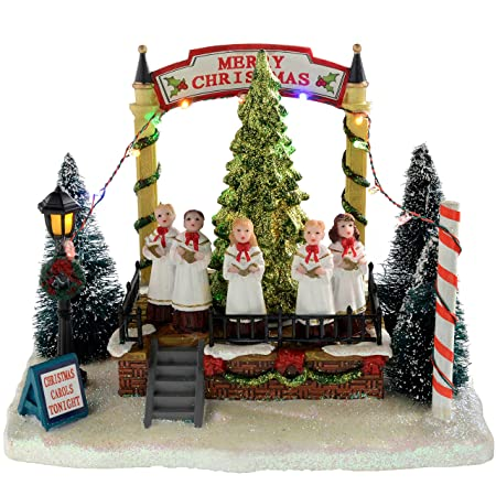 Christmas Carol Singers Ornaments.Werchristmas Musical Singing Choir With Rotating Tree Christmas Decoration 21 Cm Multi Colour