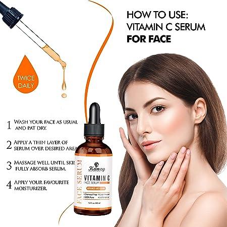 Kanzy facial Sérum con Vitamina C y ácido hialurónico puro, Mejor Bio Sérum antienvejecimiento y antiarrugas vegano natural y orgánico, crema hidratante para la piel y ojos 30ml