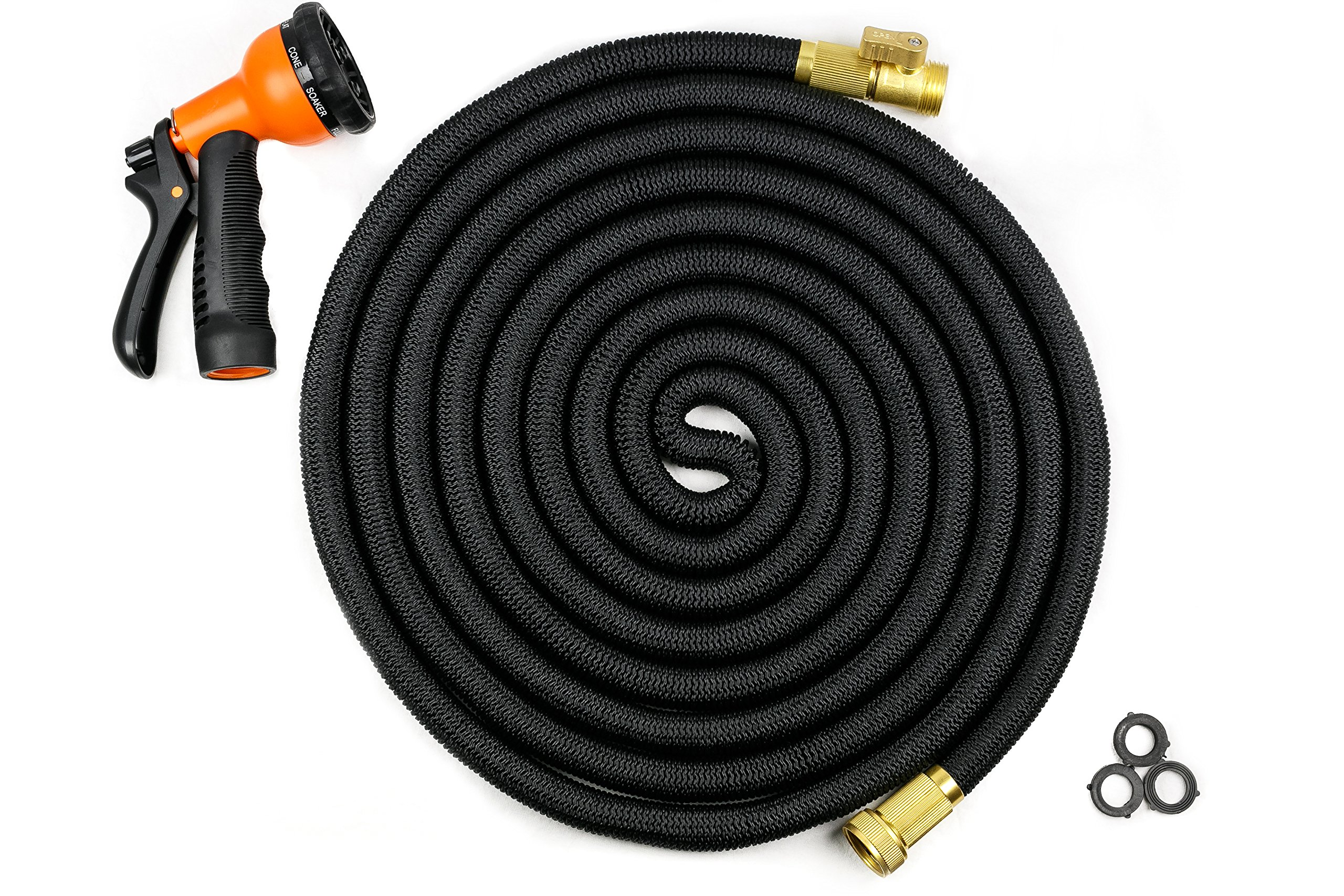 Arbour Expandable Garden Hose with Solid Brass Connectors, On/Off Valve, Triple Layer Latex Core and 8-Function Spray Nozzle (50-Feet, Black)