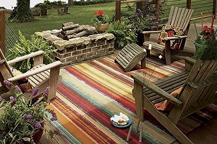 Amazon Com Mohawk Home Avenue Stripes Indoor Outdoor Printed Area