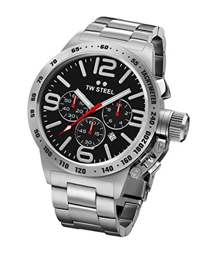 8c4afeed668 TW Steel Canteen Unisex Quartz Watch with Black Dial Chronograph Display  and Silver Stainless Steel Bracelet CB7  Amazon.co.uk  Watches