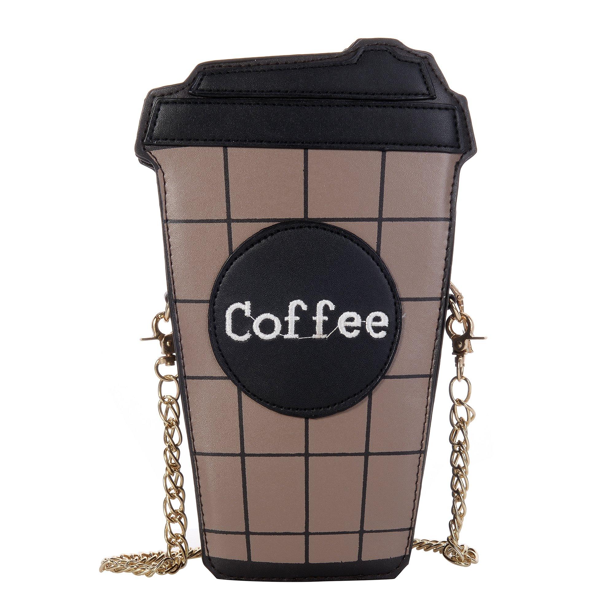 QZUnique Women's Mini Summer Cute Cartoon Coffee Cup Pattern Clutch Cross body Handbag Purse