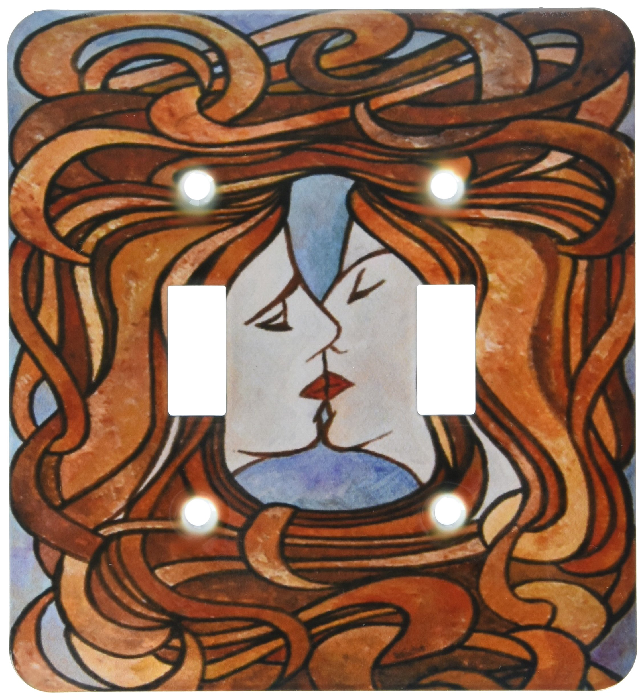 3dRose lsp_128357_2 Lesbian Love Light Themed Artwork in An Art Nouveau Style of Two Women Kissing Double Toggle Switch