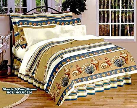 BEIGE SEASHELL Comforter SET (3 Or 4 Pieces) Coastal Living Shoreline Beach  House Living