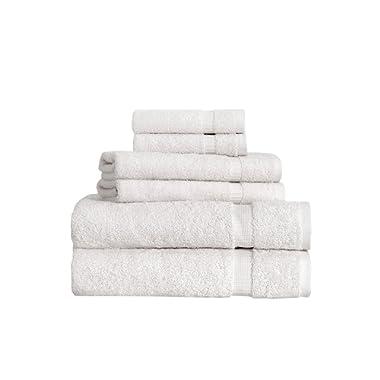SALBAKOS Turkish Luxury Hotel & Spa Collection 2 Bath, 2 Hand, 2 Washcloth Set of 6 Turkish Cotton - Organic, Eco-Friendly (6 Piece Set, Ivory)