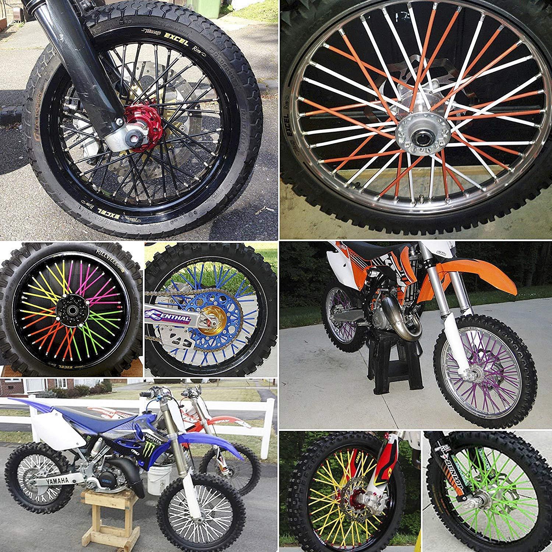 ZARRS Copriraggi,72 Pack Cannucce Copri Raggi Spoke Skins per Moto Dirt Mountain Bicicletta KTM EXC ATV 24CM Verde