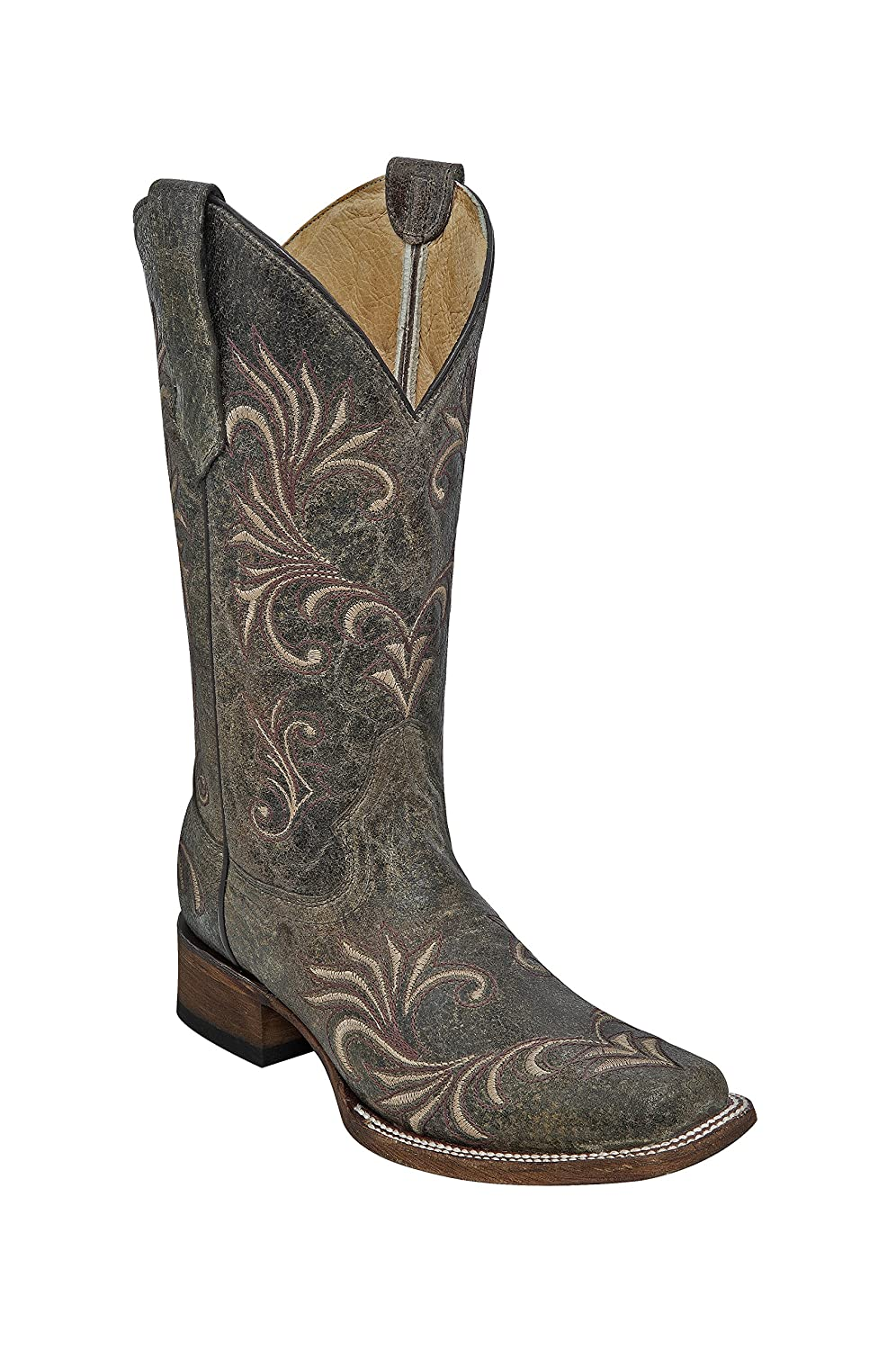 Corral Circle G Women's Square Toe Distressed Antique Green Leather Cowgirl Boots B01DRWN5NQ 7 B(M) US|Brown