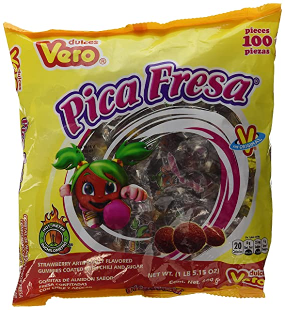 Dulces Vero Pica Fresa Chili Strawberry Flavor Gummy Mexican Candy, 100Piece, 1 LB, 5.15 OZ, Clear