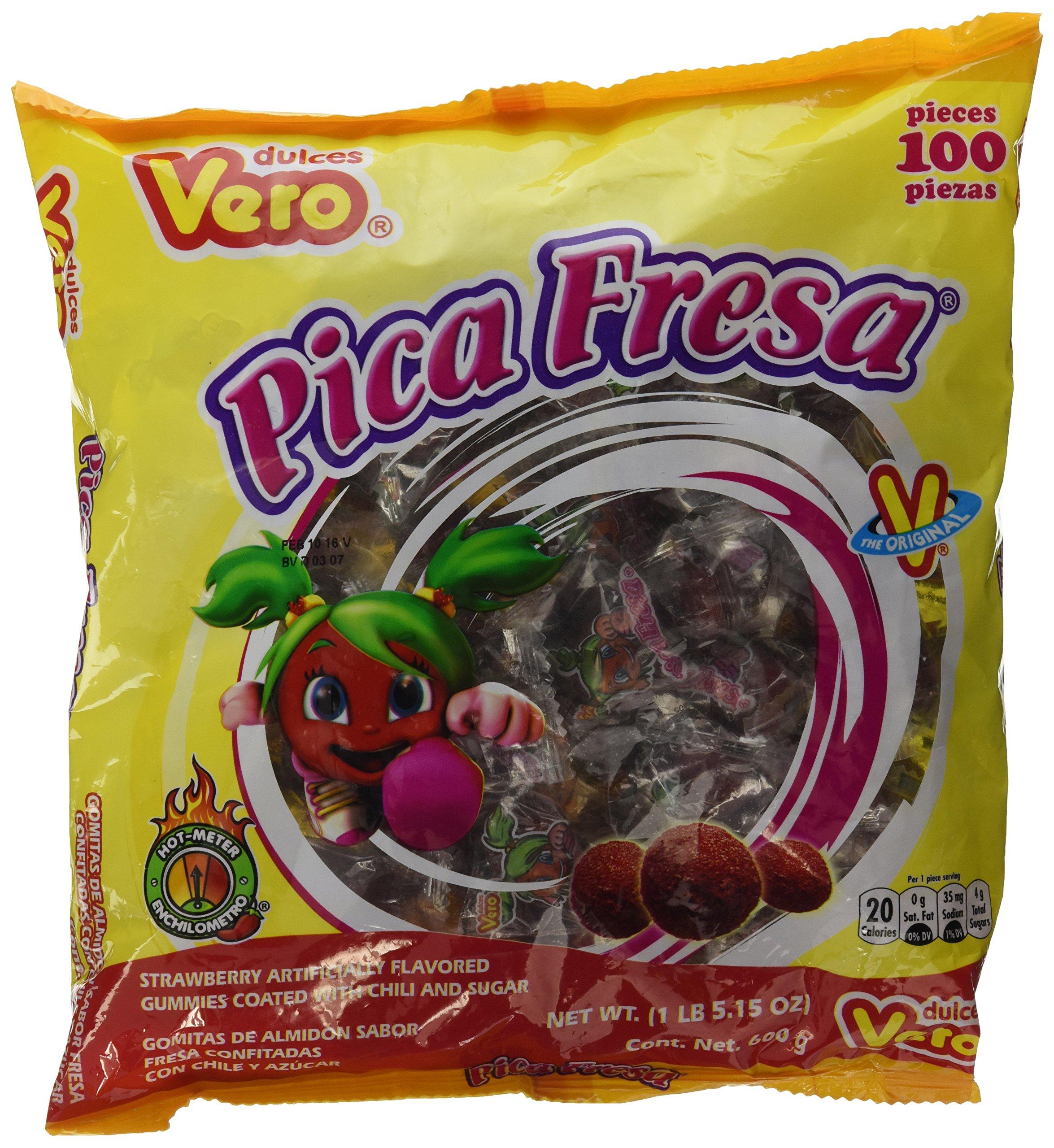 Vero Pica Fresa Chili Strawberry Flavor Gummy Mexican Candy,100 Pieces,1 LB,5.15 OZ