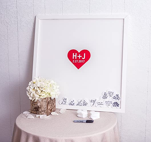 Amazon.com: Wedding Guestbook Frame with Hearts - Large Guest Book ...
