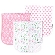 """Baby Burp Cloth Large 21''x10'' Size Premium Absorbent Triple Layer 3 Pack Gift Set For Girls """"Claire Set"""" by Copper Pearl"""