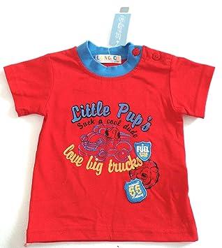 67abd478d2151 Vêtements Enfant Bébé - T-Shirt Garçon Rouge Col et Motifs Bleus Chien  Camion -