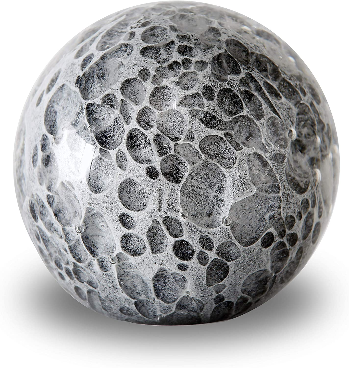 WHW Whole House Worlds Bubble Fusion Ball Paperweight, Black, Gray and White, Hand Crafted Art Glass Orb, 3 1/4 Inches Diameter Ball, No Roll Flat Bottom (8 D cm)