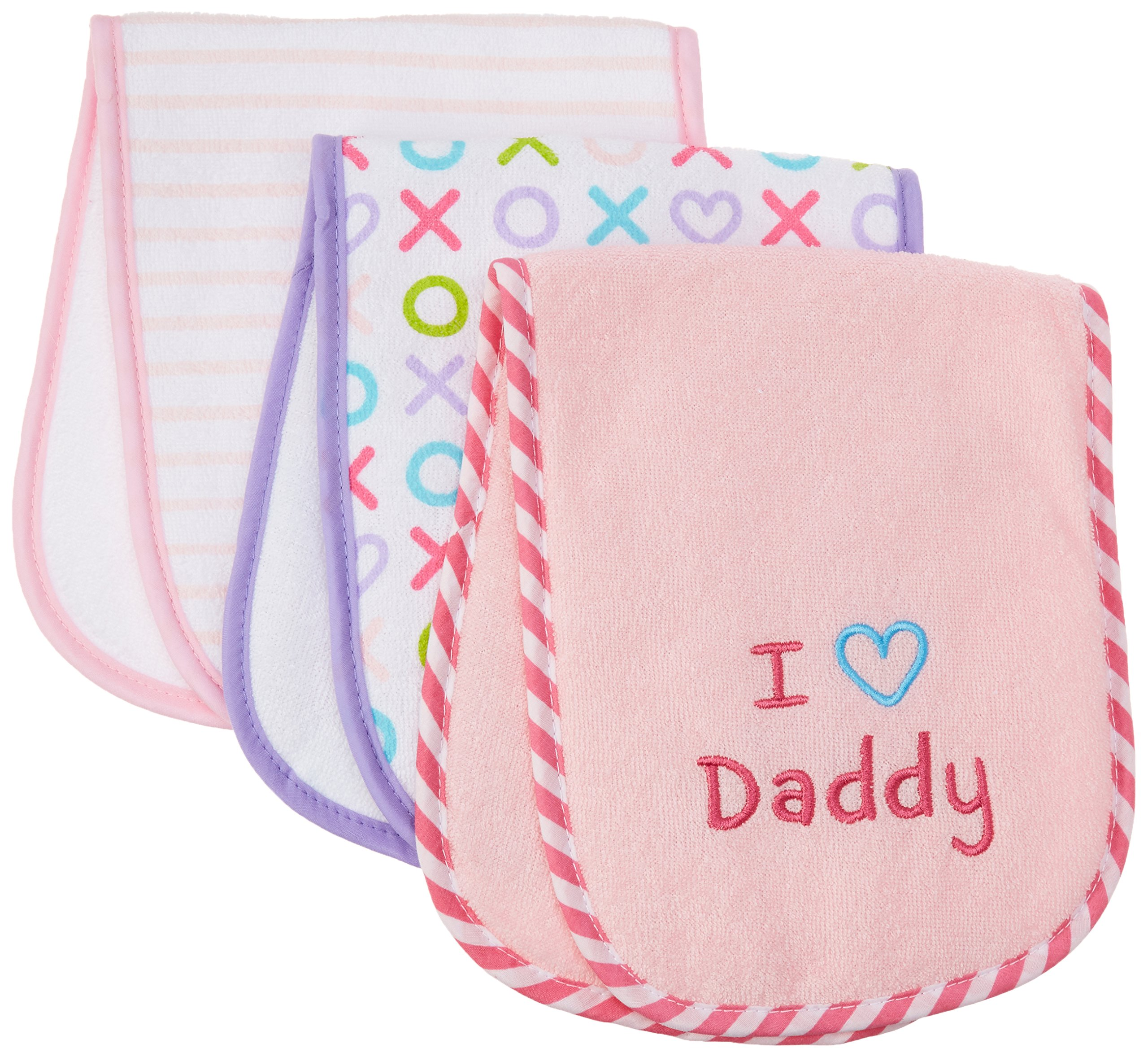 Luvable Friends I Love Mommy and Daddy Baby Burp Cloths, Pink Daddy, 3-Count