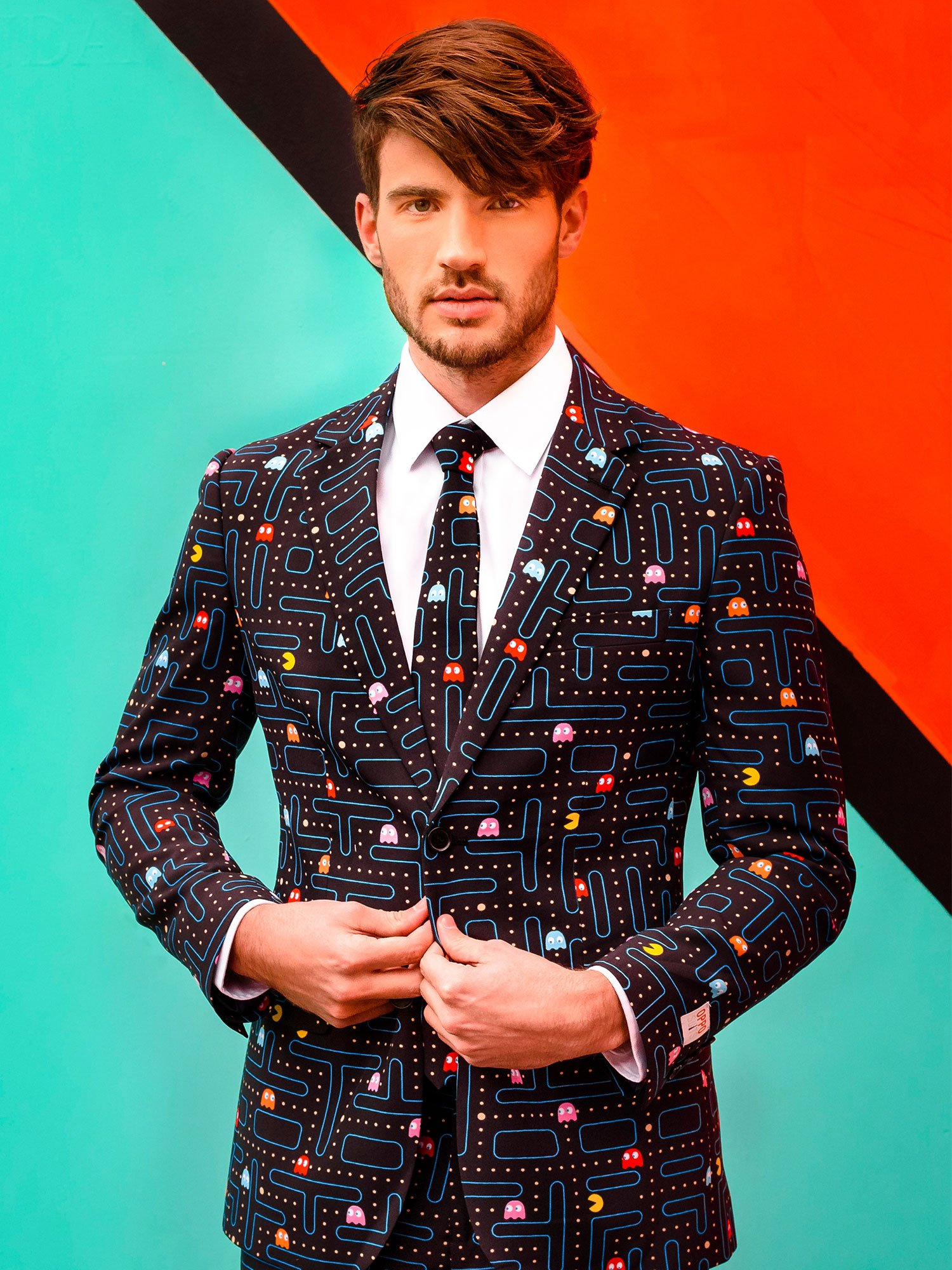Opposuits Fancy Colored Suit For Men Now With Free Prom King and Prom Queen Sash,Pac-manTM,US44 by Opposuits (Image #4)