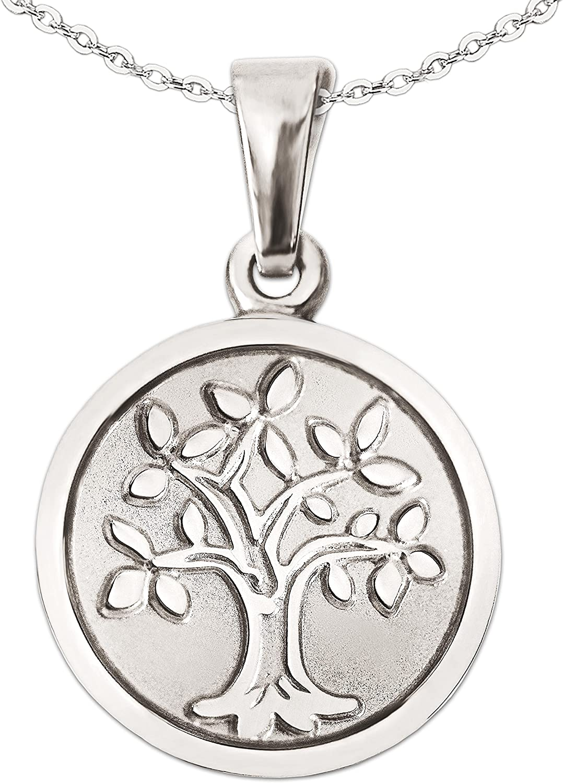 Petit Mini pendentif arbre de vie /Ø 12/mm ferm/é Mat Argent/é avec arbre et bordure brillant avec cha/îne argent 925/ancre 42/cm dans un /étui Clever ensemble Bijoux