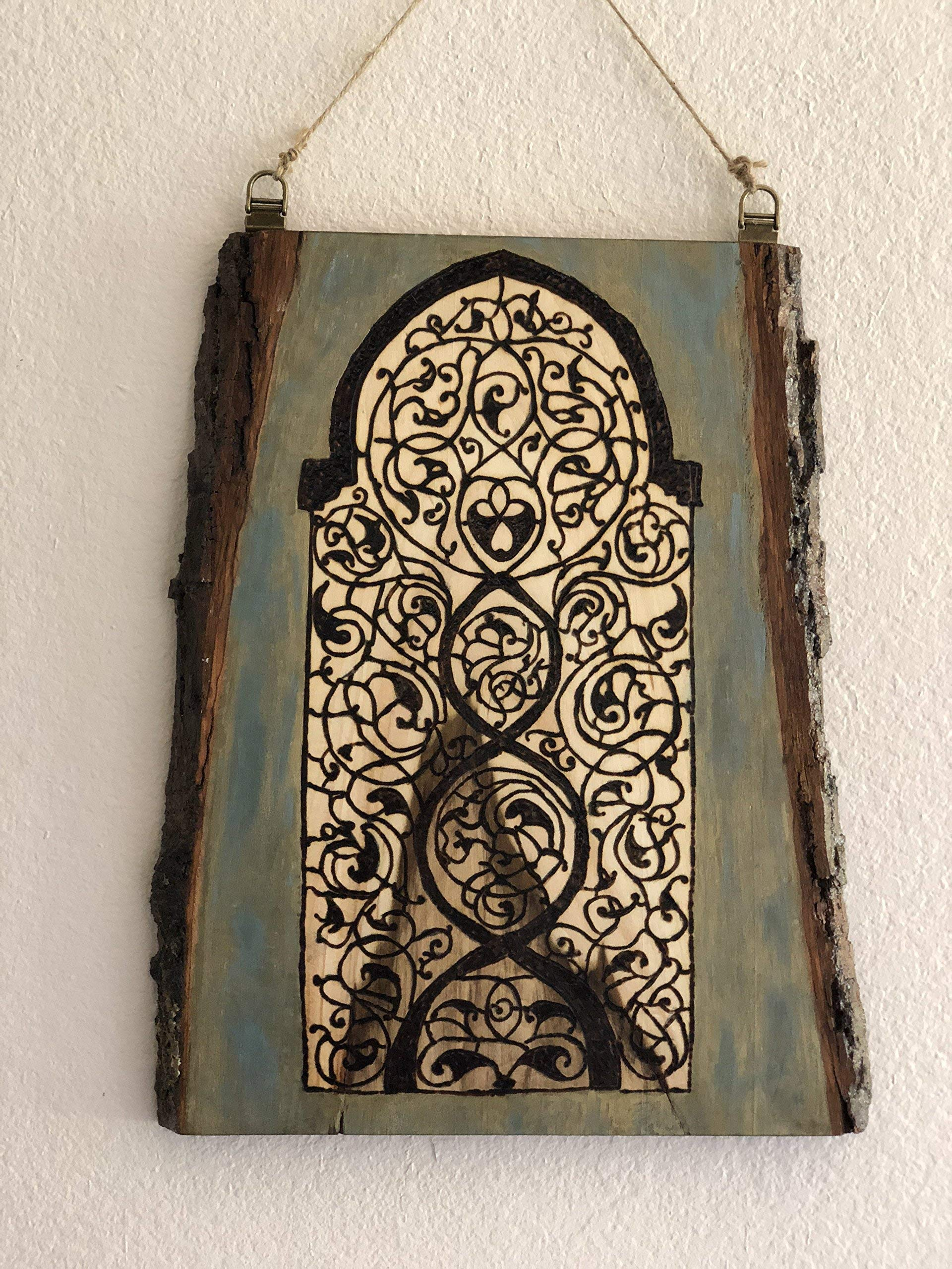 Handmade and Handcrafted Medieval Arabesque Wooden Wall Hanging With A Woodburned Indic, Jain, and Arabesque Fusion. Old World Antique Window Design